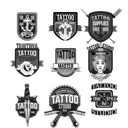 Home tattoo and badges vector set