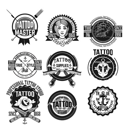 black wolf: Tattoo and badges vector set Illustration