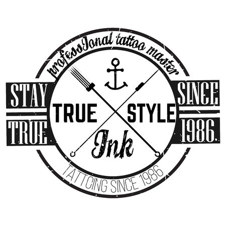 tshirt design: Homemade tattoo t-shirt design. Old school style Stock Photo
