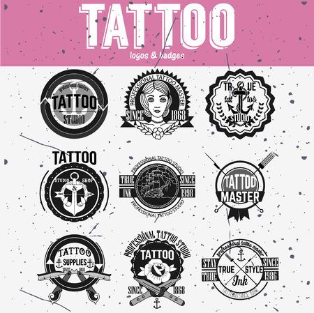 rose tattoo: Tattoo and badges vector set Illustration