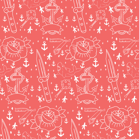 old school: Tattoo seamless pattern with different hand drawn elements. Old school Illustration