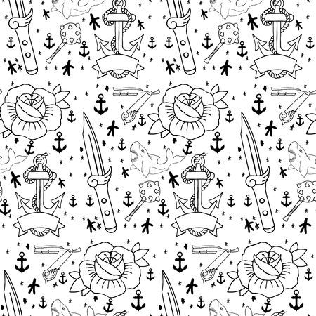 coeur diamant: Tattoo pattern avec des éléments dessinés à la main différents. Vieille école