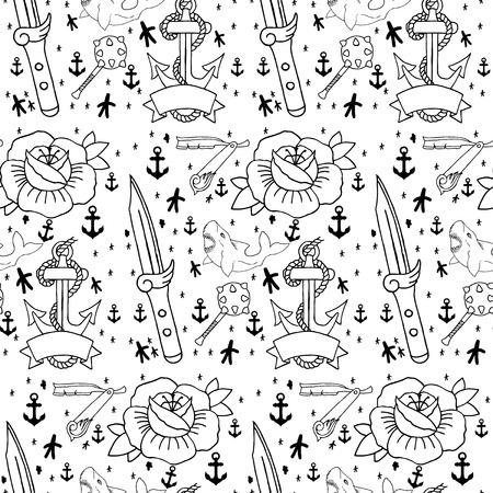 hearts and roses: Tattoo seamless pattern with different hand drawn elements. Old school Illustration