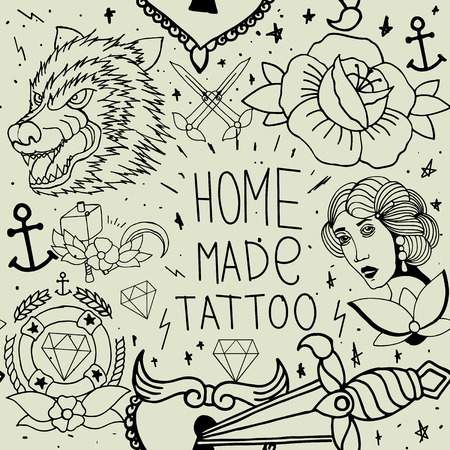 sword and heart: Tattoo seamless pattern with different hand drawn elements. Old school Illustration