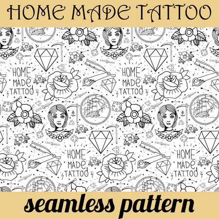 tattooing: Tattoo seamless pattern with different hand drawn elements. Old school Illustration