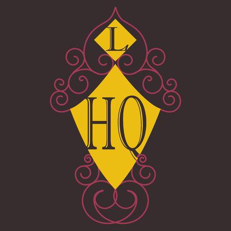 Bloeit kalligrafische monogram embleem sjabloon. Illustratie van het de lijnontwerp van het luxe de elegante kaderornament. Goed voor Royal-sign, restaurant, boetiek, café, hotel, heraldiek, sieraden, mode