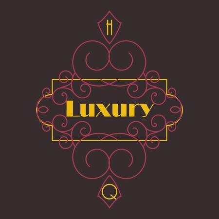 Flourishes calligraphic monogram emblem template. Luxury elegant frame ornament line  design illustration. Good for Royal sign, Restaurant, Boutique, Cafe, Hotel, Heraldic, Jewelry, Fashion
