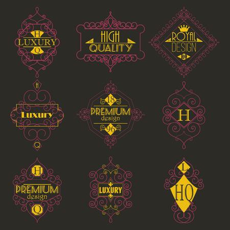 swash: Retro Design Luxury Insignias  Template Set. Line Art  Vintage Style Victorian Swash Elements. Elegant Geometric Shiny Floral Frames. Illustration