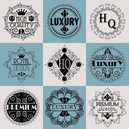 swash: Retro Design Luxury Insignias Template Set. Line Art Vintage Style Victorian Swash Elements. Elegant Geometric Shiny Floral Frames.
