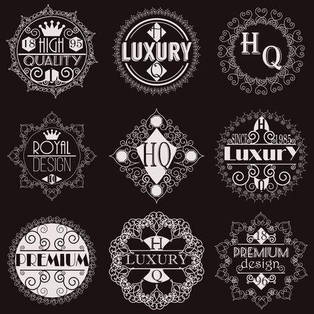 Retro Design Luxe Insignias Template Set. Line Art Vintage stijl Victoriaanse Swash Elements. Elegante geometrische Shiny Bloemen Frames. Stock Illustratie