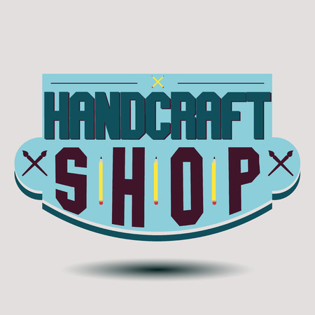 andy warhol: Color retro design insignias logotypes set. Handcraft arts and handmade illustrations. Vector vintage elements.