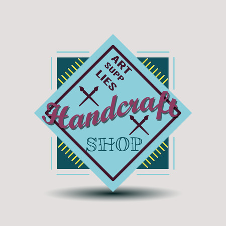 handcraft: Color retro design insignias logotypes set. Handcraft arts and handmade illustrations. Vector vintage elements.