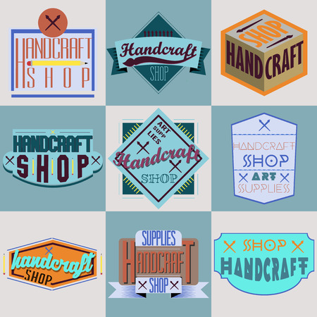 andy: Color retro design insignias logotypes set. Handcraft arts and handmade illustrations. Vector vintage elements.