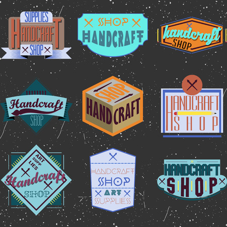 handicraft: Color retro design insignias logotypes set. Handcraft arts and handmade illustrations. Vector vintage elements.