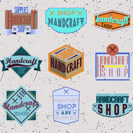 warhol: Color retro design insignias logotypes set. Handcraft arts and handmade illustrations. Vector vintage elements.