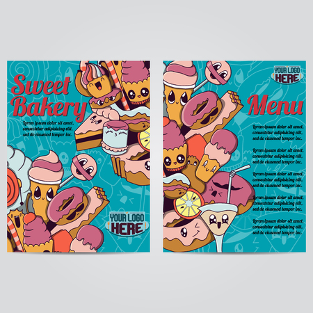 bakery products: Vector hand drawn doodles sweet bakery products design banners, cards, postcards, brochures, and posters template set Vectores