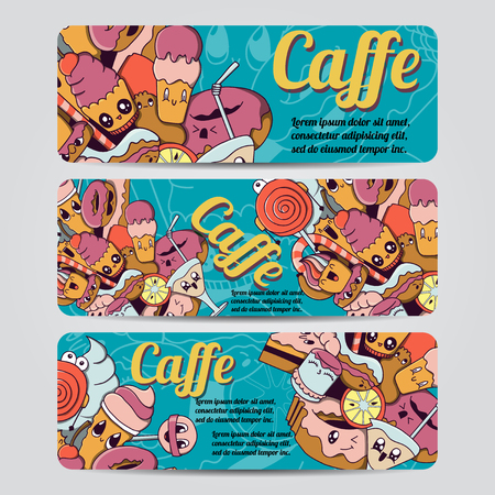 caffe: Vector hand drawn doodles caffe design banners,cards, postcards, brochures, invitation,letters and posters template set Illustration