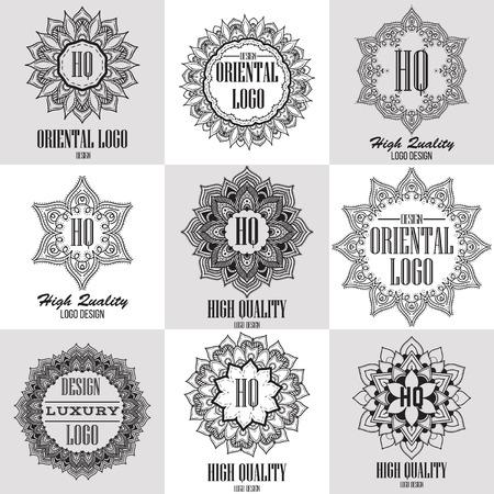 barbero: Logo plantillas de alta calidad orientales fijados. Vector dise�o ornamental �tnica para los salones de belleza, spa, masajes, peluquer�as, saunas, cuidado de la salud y la medicina. Vectores