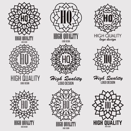 logotypes: Retro design luxury insignias logotypes template set. Line art vector vintage style victorian swash elements. Elegant geometric shiny floral frames.