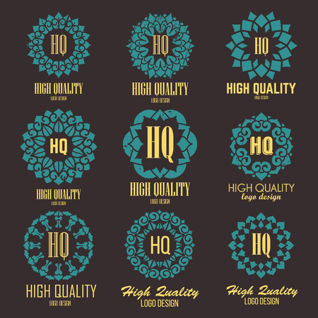 massage symbol: Oriental high quality logo templates set. Vector ethnic ornamental design for beauty salons, spa, massage, barber shops, saunas, healthcare and medicine.