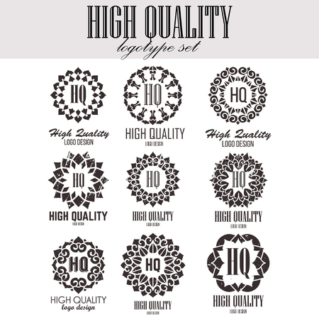 oriental medicine: Oriental high quality logo templates set. Vector ethnic ornamental design for beauty salons, spa, massage, barber shops, saunas, healthcare and medicine.