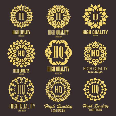 barbero: Logo plantillas de alta calidad orientales fijados. Vector diseño ornamental étnica para los salones de belleza, spa, masajes, peluquerías, saunas, cuidado de la salud y la medicina. Vectores
