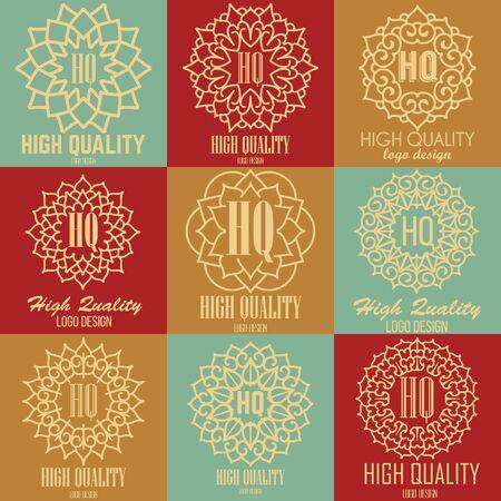 luxury template: Retro design luxury insignias logotypes template set. Line art vector vintage style victorian swash elements. Elegant geometric shiny floral frames.