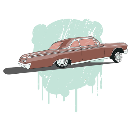 andy warhol: Vintage low rider logo, badge, sign, emblems, sticers and elements design. Collection black and white classic and retro old car