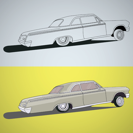 sticers: Vintage low rider logo, badge, sign, emblems, sticers and elements design. Collection black and white classic and retro old car