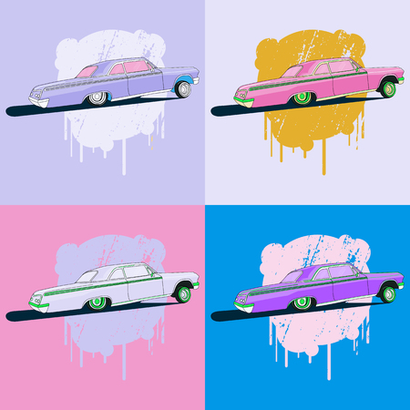 warhol: Vintage low rider logo, badge, sign, emblems, sticers and elements design. Collection black and white classic and retro old car