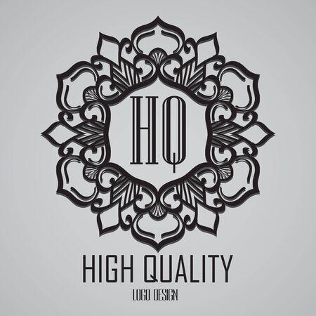 boutique hotel: monograma plantilla de diseño simple. Diseño del marco del ornamento línea elegante. Bueno para restaurante, Boutique, Hotel, heráldico, joyería.