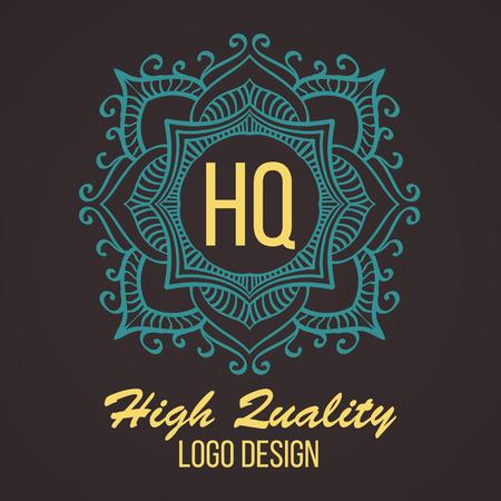 Set Template insegne Logotypes Retro Luxury Design. Line Art Vector Vintage Stile vittoriano Swash Elements. Eleganti geometriche lucide cornici floreali.