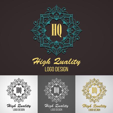 swash: Retro Design Luxury Insignias Logotypes Template Set. Line Art Vector Vintage Style Victorian Swash Elements. Elegant Geometric Shiny Floral Frames.