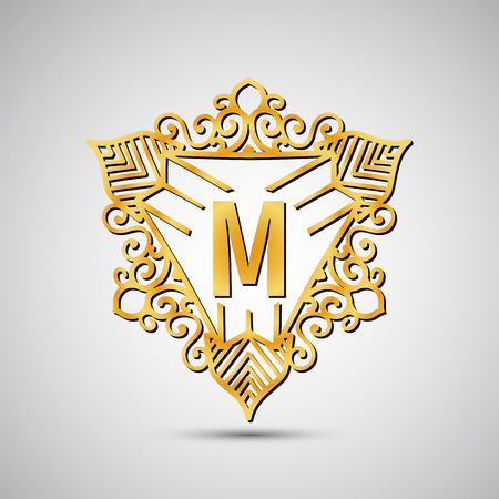overlapped: Template design for monogram, label in overlapped style. Vector illustration.