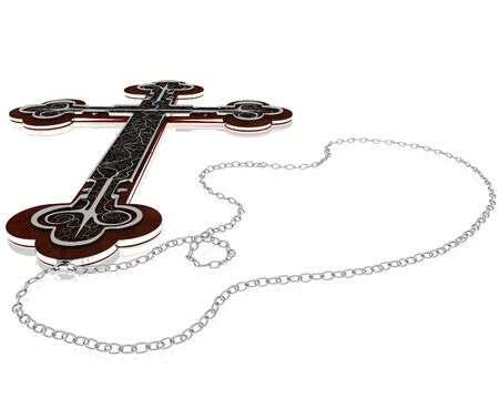 Old Gothic cross on a silver chain. The cross itself is red wood, with the design from silver. Isolated on white background photo