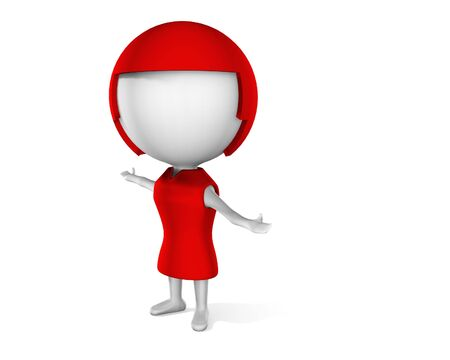 3d animation: a 3d woman on a white background Stock Photo