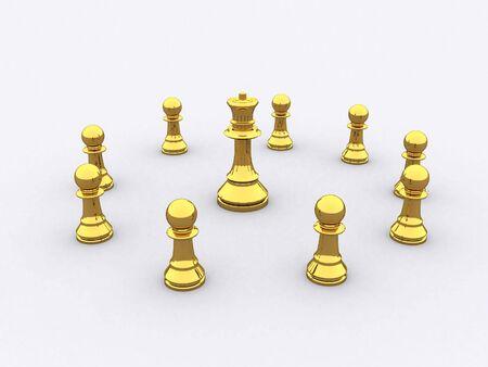 reflektion: A group of golden Chess figure