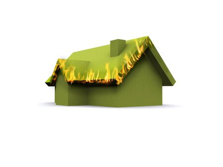 house fire: A 3d maded house on a white background Stock Photo