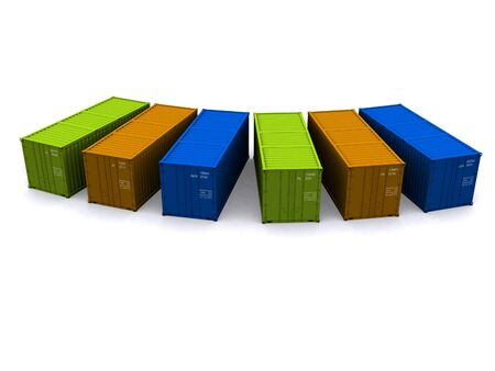 seafreight: A 3d maded Container on a white background