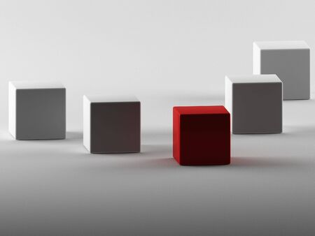 3d maded cubes on a grey background photo