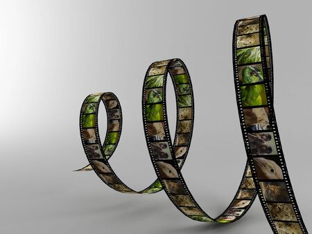 a 3d maded photofilm on a grey background photo