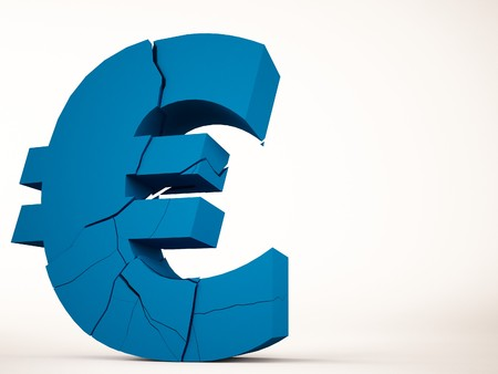 economic issues: A 3d maded brocken euro symbol
