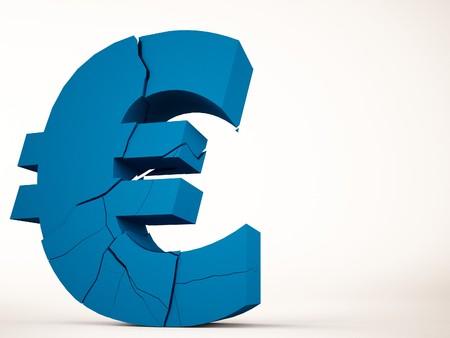 economic depression: A 3d maded brocken euro symbol