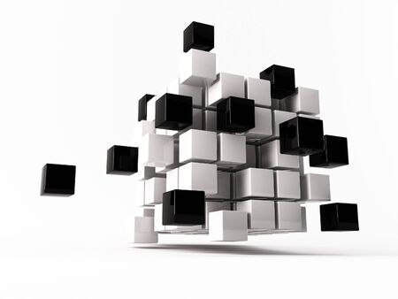 sociedade: a 3d maded cube on a white background