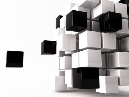 a 3d maded cube on a white background photo