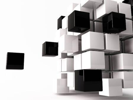 cubo: un cubo 3d de realizada sobre un fondo blanco Foto de archivo