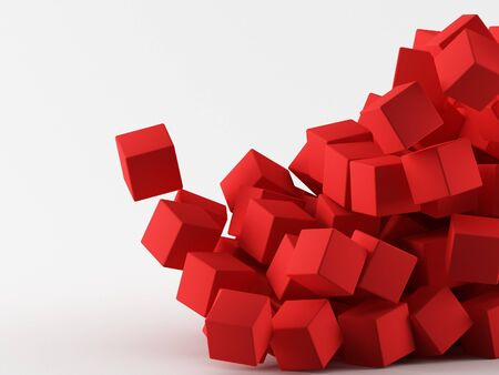 a groupes of cubes on a grey background