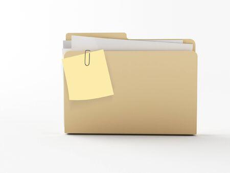 carpeta: una carpeta marr�n de tambi�n 3d con un papel de nota
