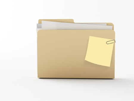 download folder: a brown 3d maded folder with a note paper Stock Photo