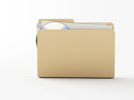 a brown 3d maded folder on a white background